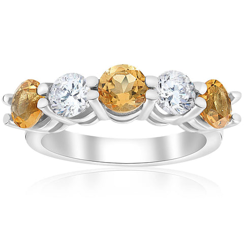 2 1/2ct Citrine & Diamond 5-Stone Ring 14K White Gold Womens Wedding Band Round