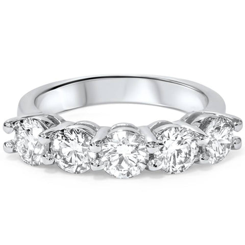 Platinum 2 ct Five Stone Lab Grown Diamond Wedding Ring