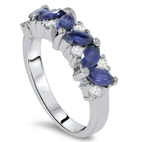 1 1/2ct Blue Sapphire Marquise & Diamond Ring 14K White Gold