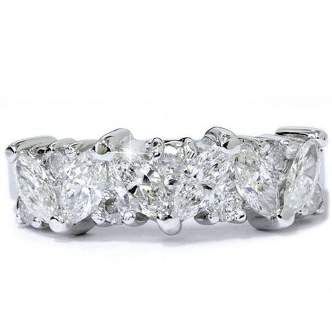 1 12ct Fancy Marquise Diamond Wedding Ring Womens Stackable Band