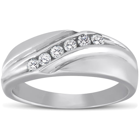 Platinum Diamond 1/4 Ct High Polished Mens Ring Wedding Band