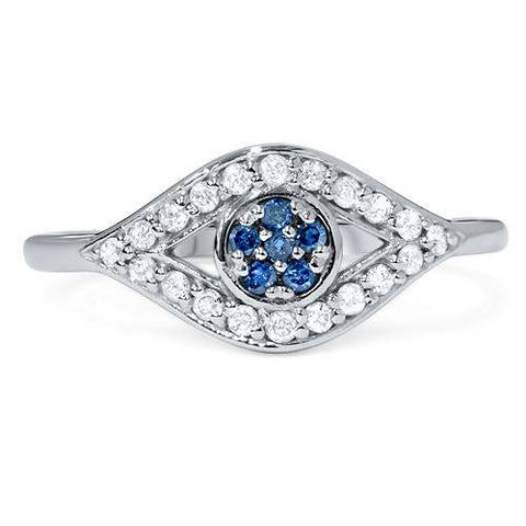 1/3ct Blue & White Diamond Evil Eye Ring 14K White Gold