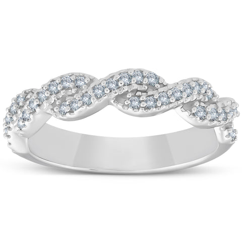 1/4ct Pave Diamond Infinity Vintage Wedding Anniversary Ring 14K White Gold