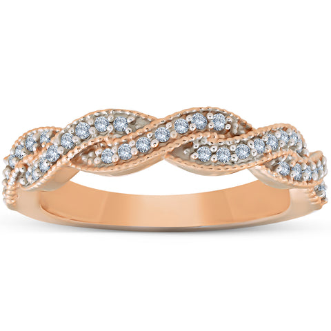 1/5ct Pave Diamond Woven Infinity Wedding Ring 14K Rose Gold Stackable Band