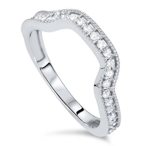 1/3ct Diamond Curved Ring 14K White Gold