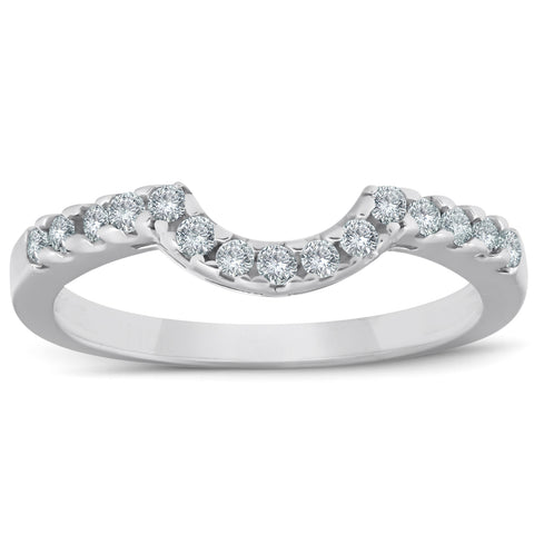 1/4ct Curved Diamond Notched Wedding Ring Enhancer 14K White Gold