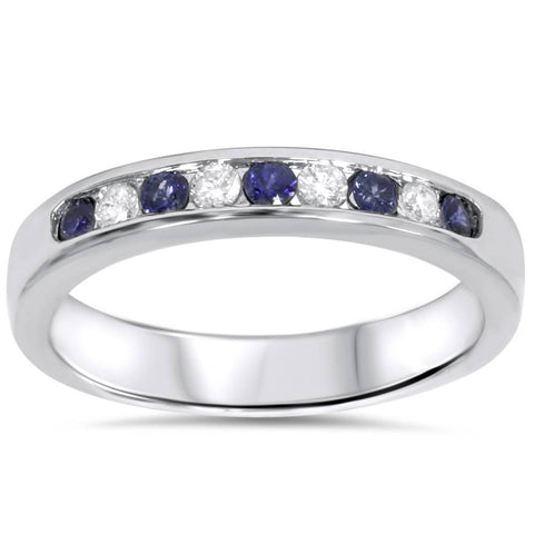 1/4ct Blue Sapphire Diamond Channel Set Wedding Ring 14K White Gold