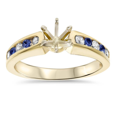 1/2Ct Blue Sapphire & Diamond Engagement Ring Setting 14K Yellow Gold