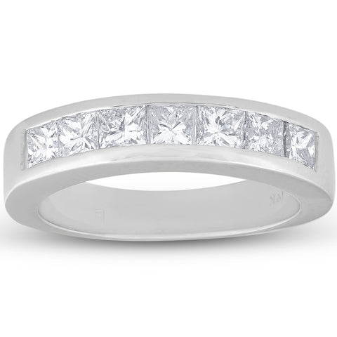 1 Ct Princess Cut Channel Set Diamond Wedding Ring 14K White Gold
