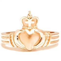 Yellow Gold Mens Claddagh Wedding Anniversary Ring