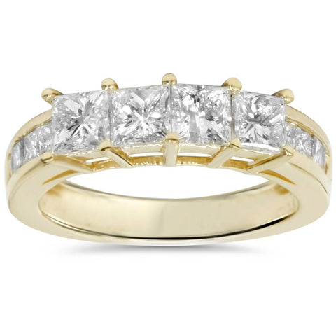1 1/4ct Princess Cut Diamond Ring 14K Yellow Gold