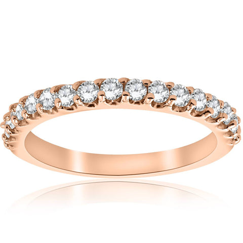 1/2CT Diamond Ring 14k Rose Gold Womens Wedding Anniversary Band