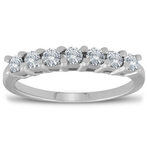 1/2ct 7-Stone Diamond Wedding Ring 14K White Gold Womens Anniversary Band
