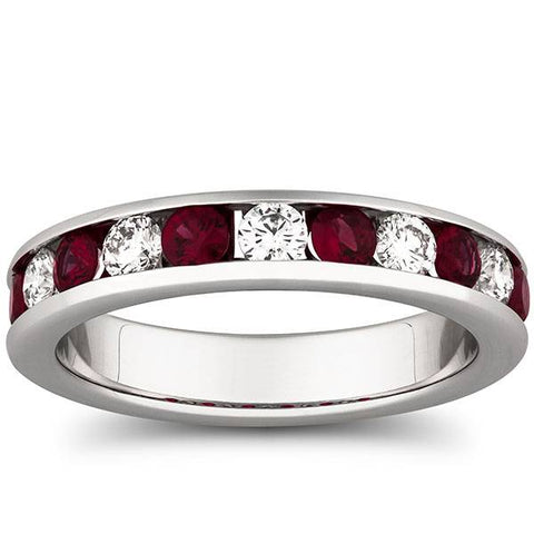 1ct Ruby Diamond Channel Set Wedding Ring 14K White Gold