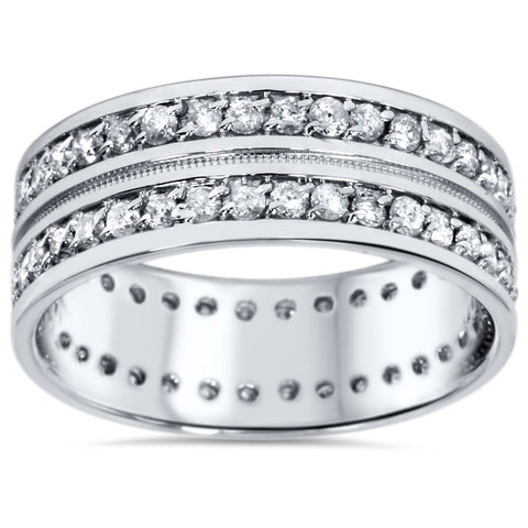 1 1/2ct Mens Diamond Eternity Ring Milgrain Accent 10K White Gold