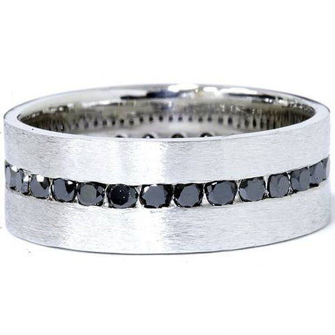 1 1/10ct Treated Black Diamond 8mm Mens Eternity Ring 14K White Gold