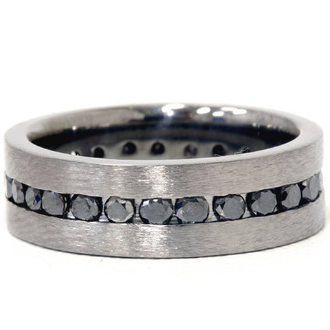 1 1/10ct Black Diamond Brushed Wedding Mens Eternity Band 14K Black Gold