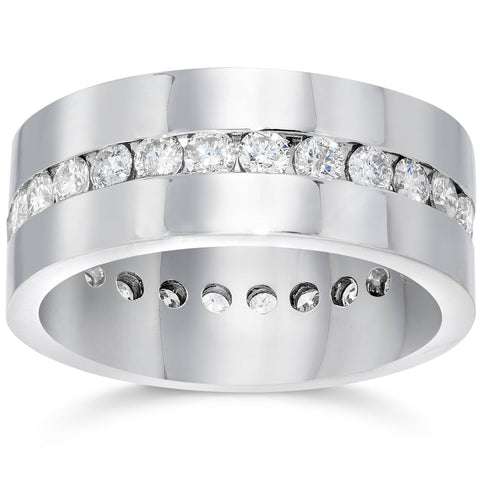 Mens 1 1/10ct Diamond Eternity Comfort Wedding Band 14k White Gold Ring