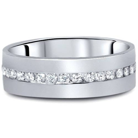 1 1/10ct Diamond Mens Eternity Wedding Ring 8mm 14K White Gold