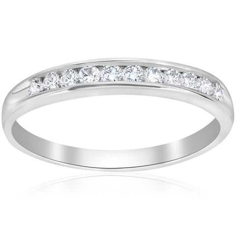 1/4ct Diamond 10k White Gold Wedding Stackable Ring Womens Channel Set Band