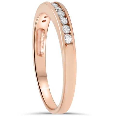 0.30 ct 14K Gold Round Diamond Ladies Anniversary Wedding Band Stackable Ring