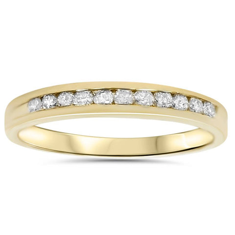 1/4ct Ladies Ring Natural Diamond Channel Set Wedding Band Pure 14K Yellow Gold