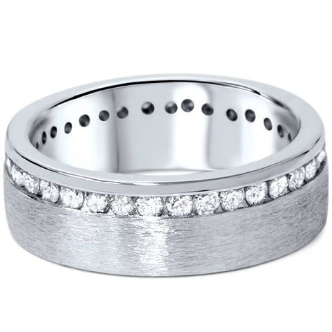 1 1/10ct Diamond Eternity Wedding Ring Brushed 14K Band