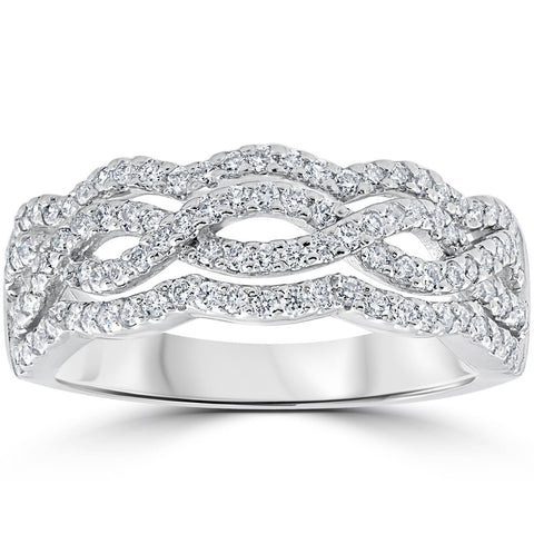 G/VS .67ct Diamond Multi Row Infinity Cross Over Ring 14k White Gold Size 7