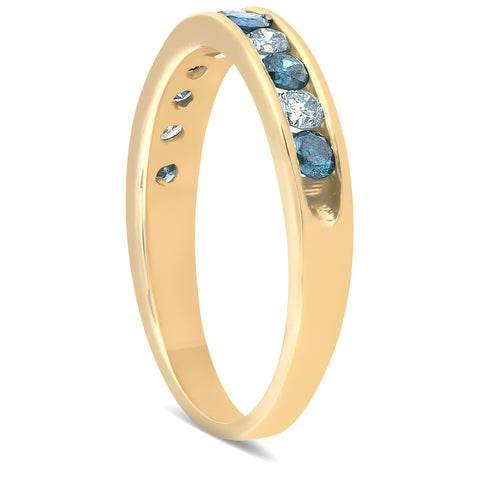 1/2ct Treated Blue & White Diamond Channel Set Ring 14K Yellow Gold