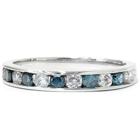 1/2ct Treated Blue & White Diamond Channel Set Wedding Ring 14K White Gold