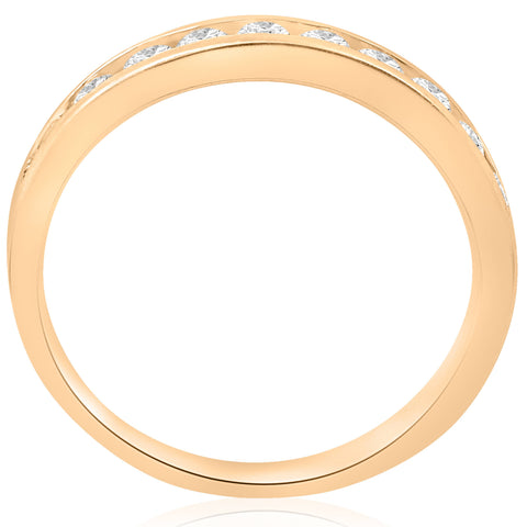 1/2cttw Diamond Channel Set Wedding Ring 10k Yellow Gold Womens Stackable Band