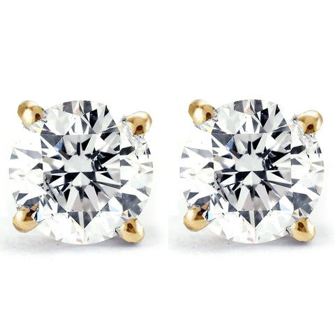 1/4 Ct TDW Genuine Diamond Studs Available in 14k White or Yellow Gold