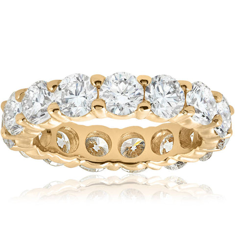 Unique Huge 5.00Ct Round Diamond Eternity Ring Wedding Band 14k Yellow Gold