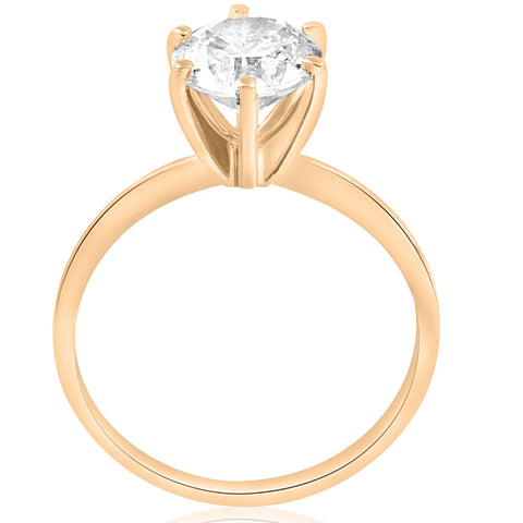1 1/2 Ct Diamond Solitaire Engagement Ring 14k Yellow Gold Enhanced