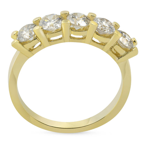 1 1/4ct Diamond Wedding 14k Yellow Gold Anniversary Ring 5-Stone High Polished
