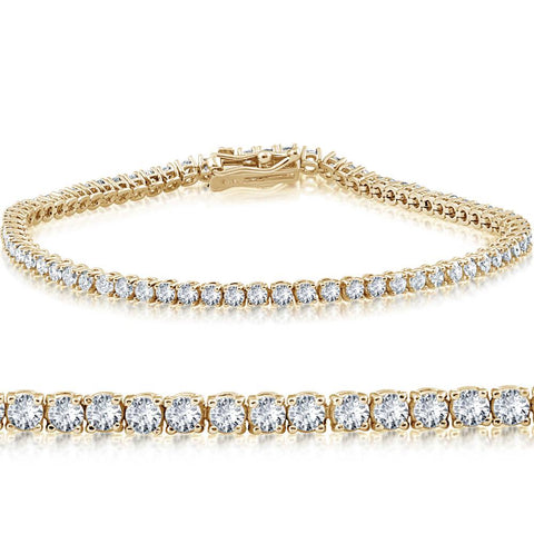 14k Yellow Gold 3 ct Round Cut Diamond Tennis Bracelet 7""