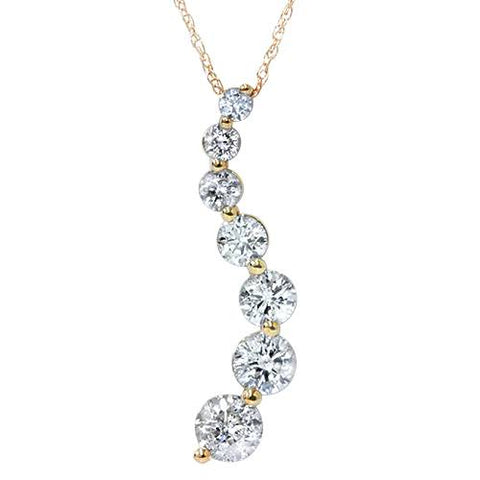 1ct Diamond Journey Pendant 14K Yellow Gold New