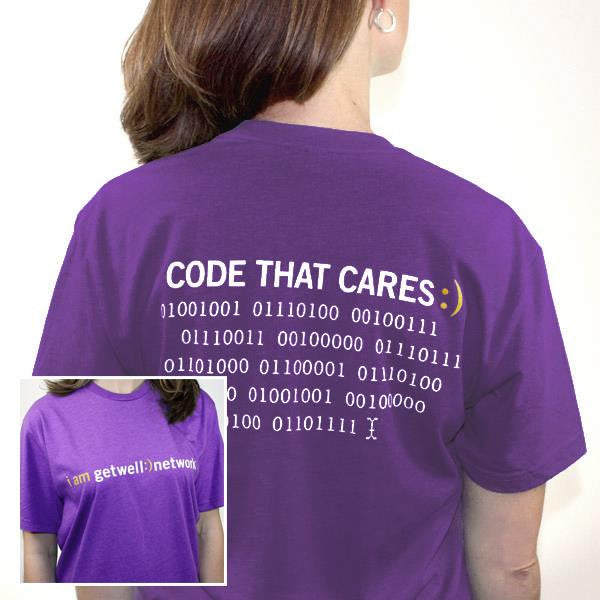 Code that Cares Tee in Purple