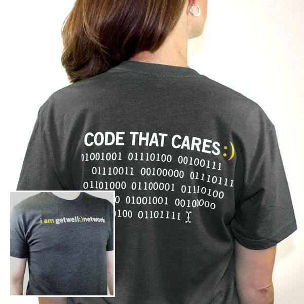 Code that Cares Tee in Charcoal Grey
