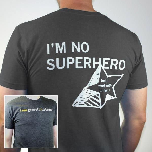 I'm No Superhero Tee in Charcoal Grey