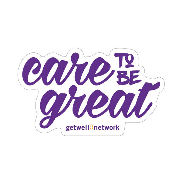 """Care to be great"" vinyl laptop decal"