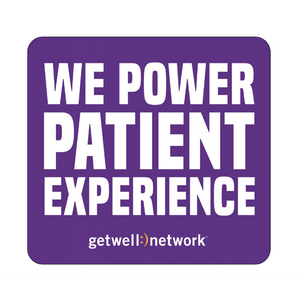 """We Power Patient Experience"" vinyl laptop decal"