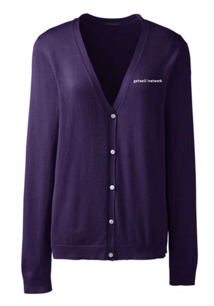 Women's Lands' End V-neck Cardigan in Purple
