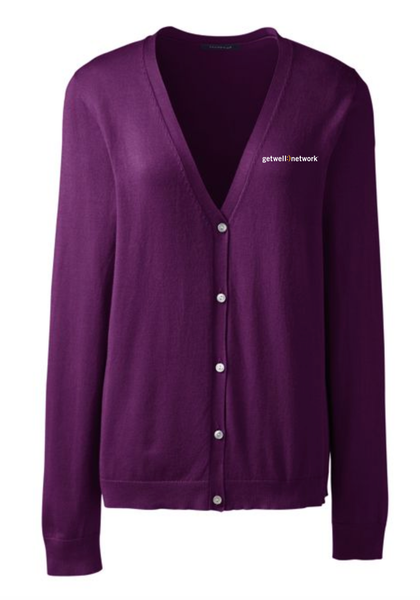 Women's Lands' End V-neck Cardigan in Wineberry