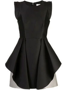 Halston Flared Two Tone Dress