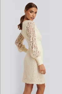 NA-KD Balloon Sleeve Lace Dress
