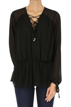Load image into Gallery viewer, Michael Kors Georgette Lace-up Peasant Blouse