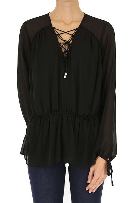 Michael Kors Georgette Lace-up Peasant Blouse