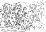 Set of four sketches for POOCHYTOWN sequence