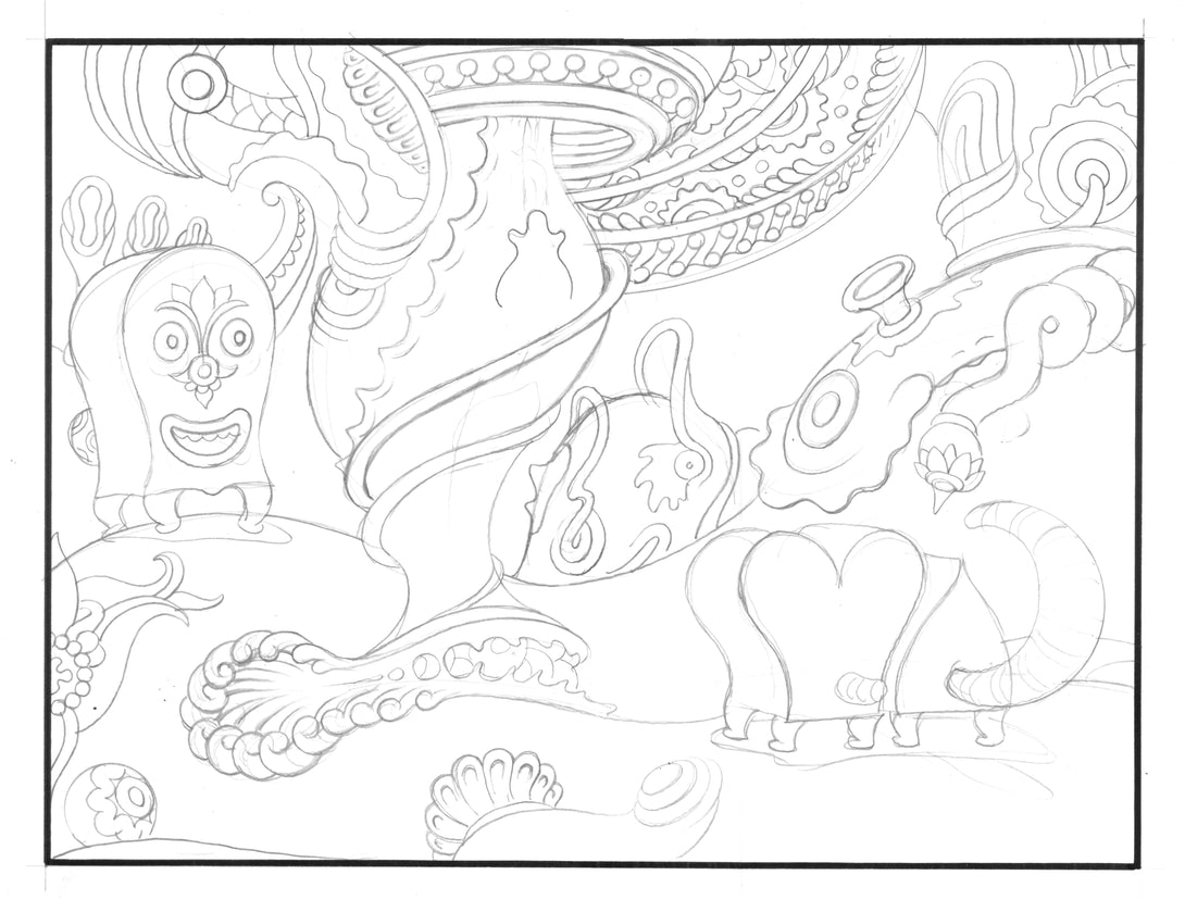 zPencilled view of POOCHYTOWN awaiting ink.